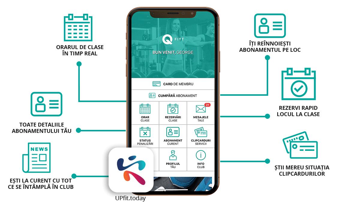Aplicatia UPfit.today pentru Q FITT Bacău și Piatra Neamț